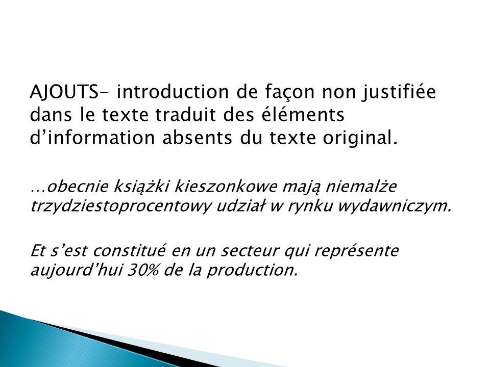 AJOUTS- introduction de façon non justifiée dans le texte traduit des éléments d'information absents du texte original.