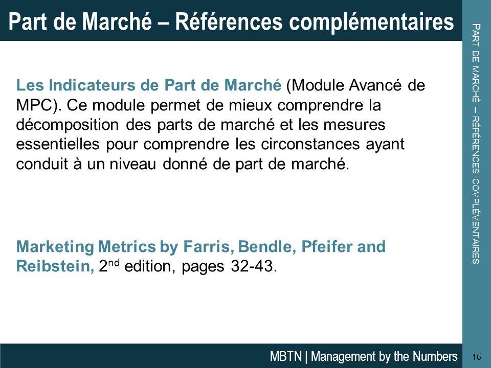 Part de marché – références complémentaires