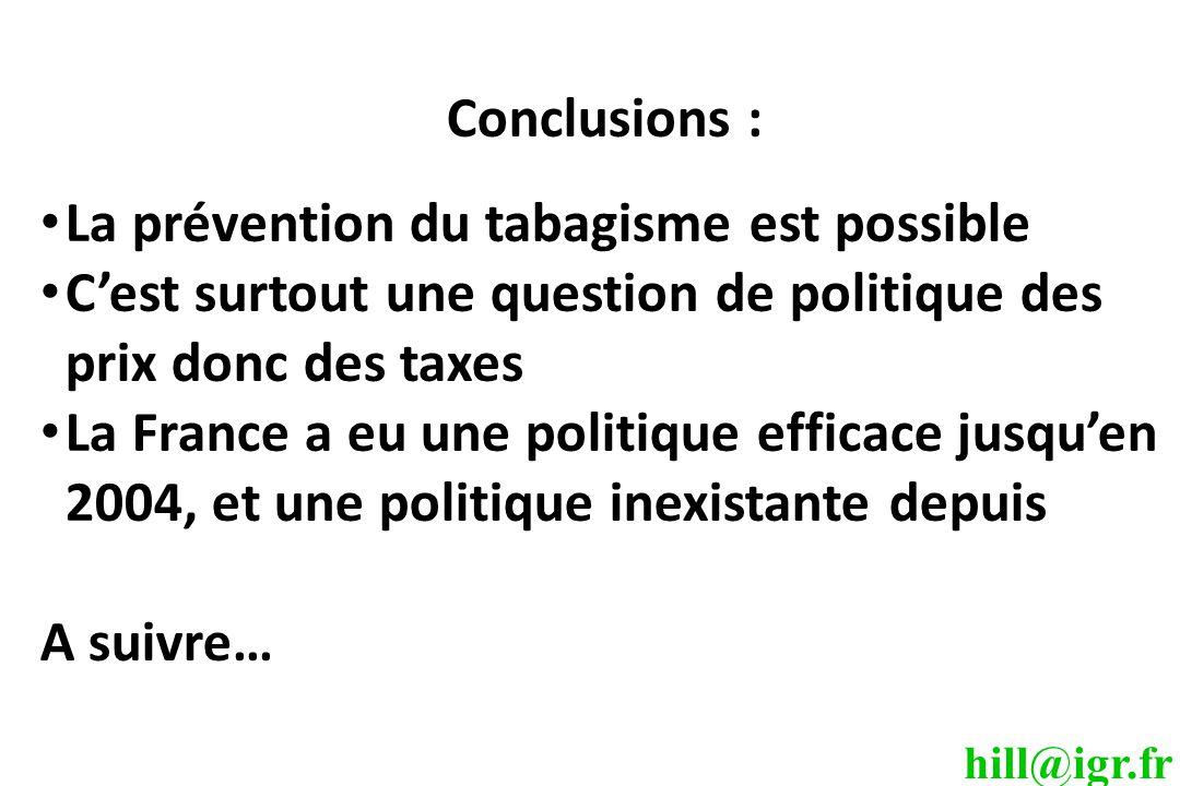 Conclusions : La prévention du tabagisme est possible. C'est surtout une question de politique des prix donc des taxes.