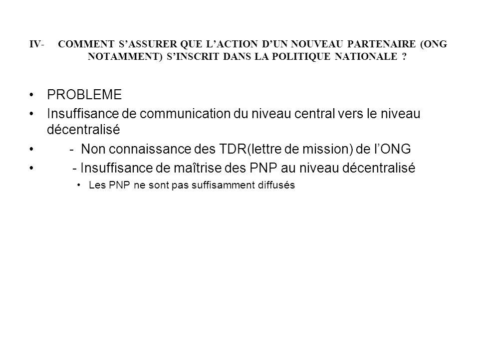 - Non connaissance des TDR(lettre de mission) de l'ONG