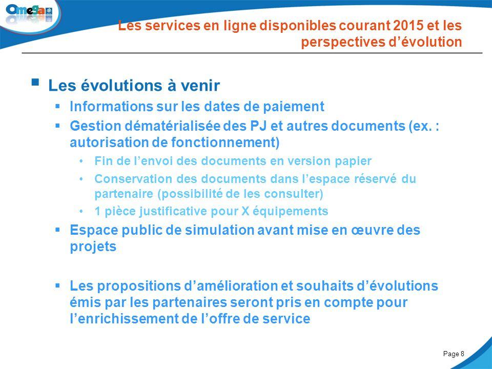 Les services en ligne disponibles courant 2015 et les perspectives d'évolution