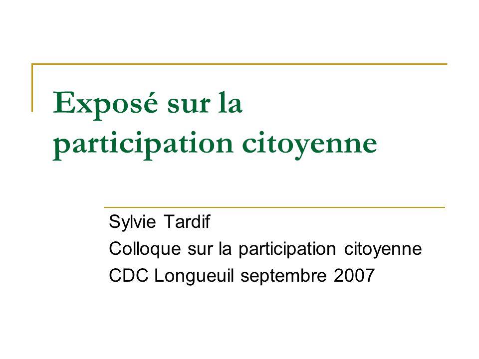 Exposé sur la participation citoyenne