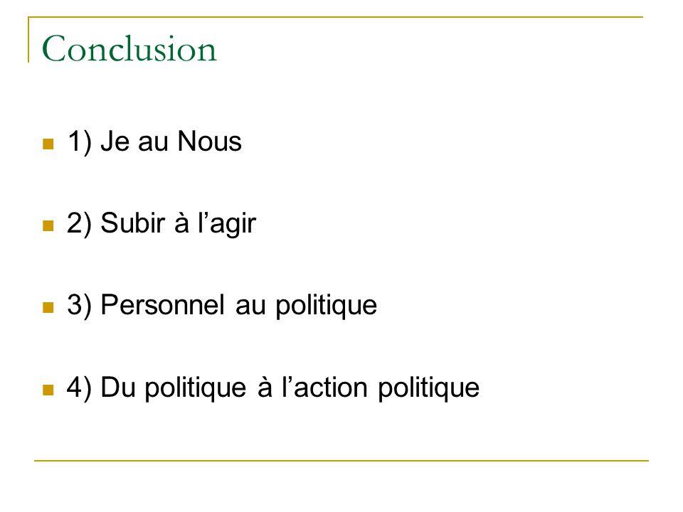Conclusion 1) Je au Nous 2) Subir à l'agir 3) Personnel au politique
