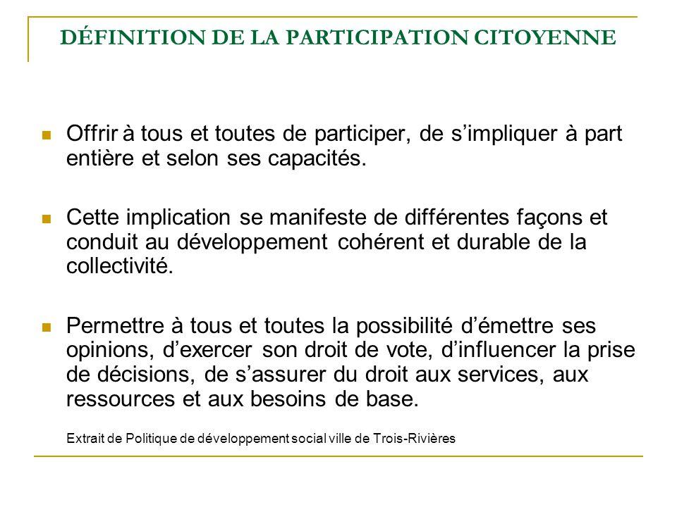 DÉFINITION DE LA PARTICIPATION CITOYENNE