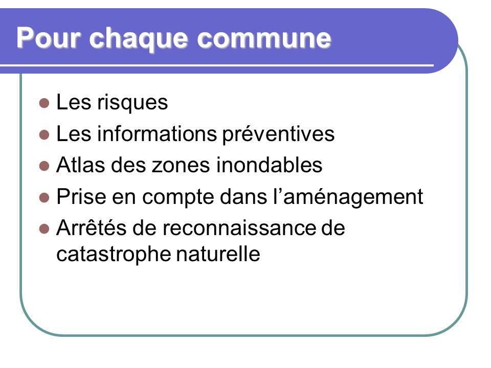 Pour chaque commune Les risques Les informations préventives