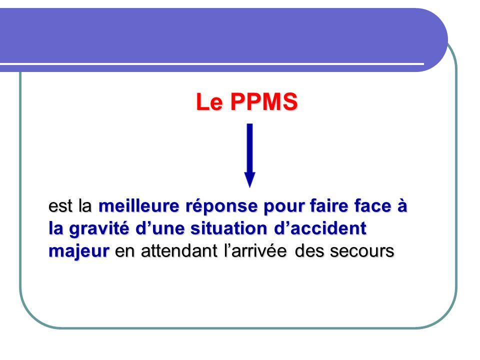 Le PPMS est la meilleure réponse pour faire face à la gravité d'une situation d'accident majeur en attendant l'arrivée des secours.