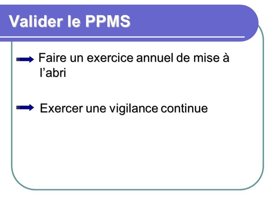 Valider le PPMS Faire un exercice annuel de mise à l'abri