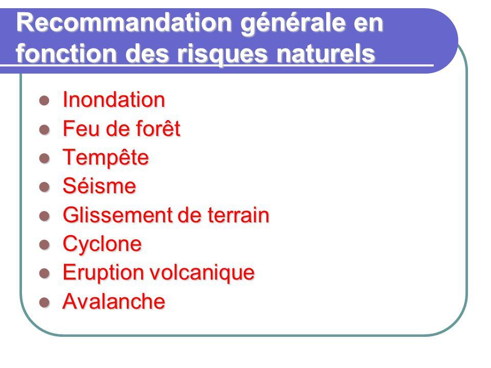 Recommandation générale en fonction des risques naturels