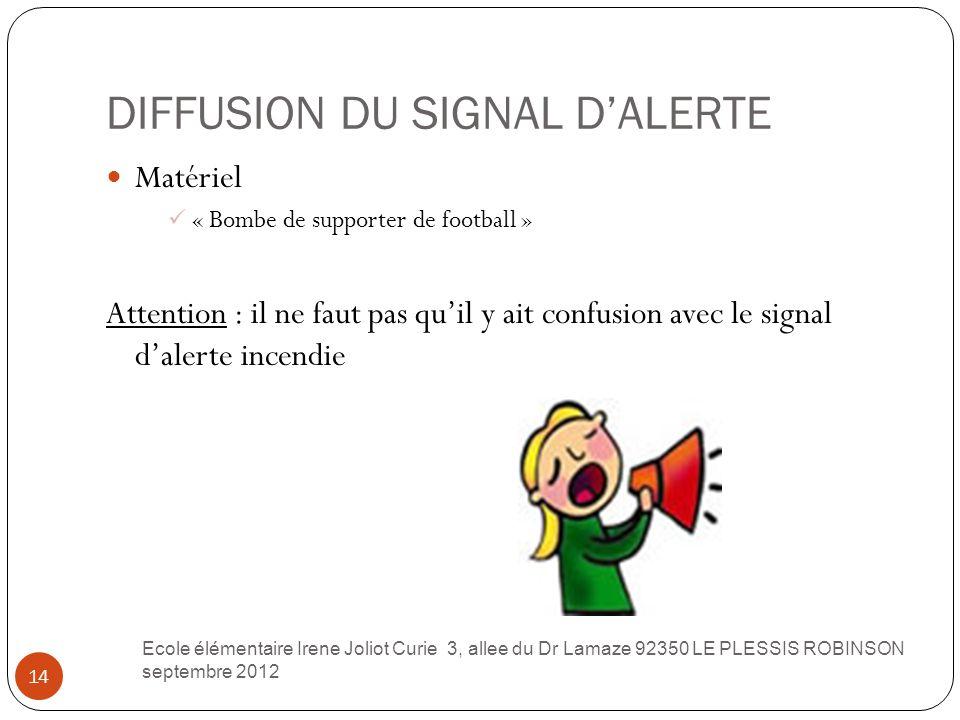 DIFFUSION DU SIGNAL D'ALERTE