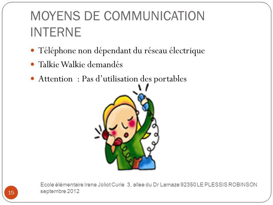 MOYENS DE COMMUNICATION INTERNE