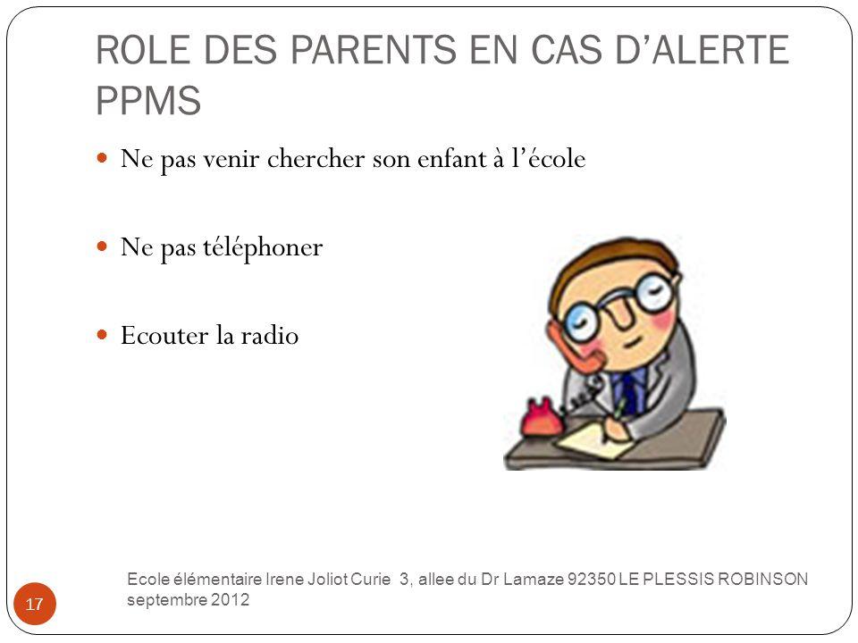 ROLE DES PARENTS EN CAS D'ALERTE PPMS