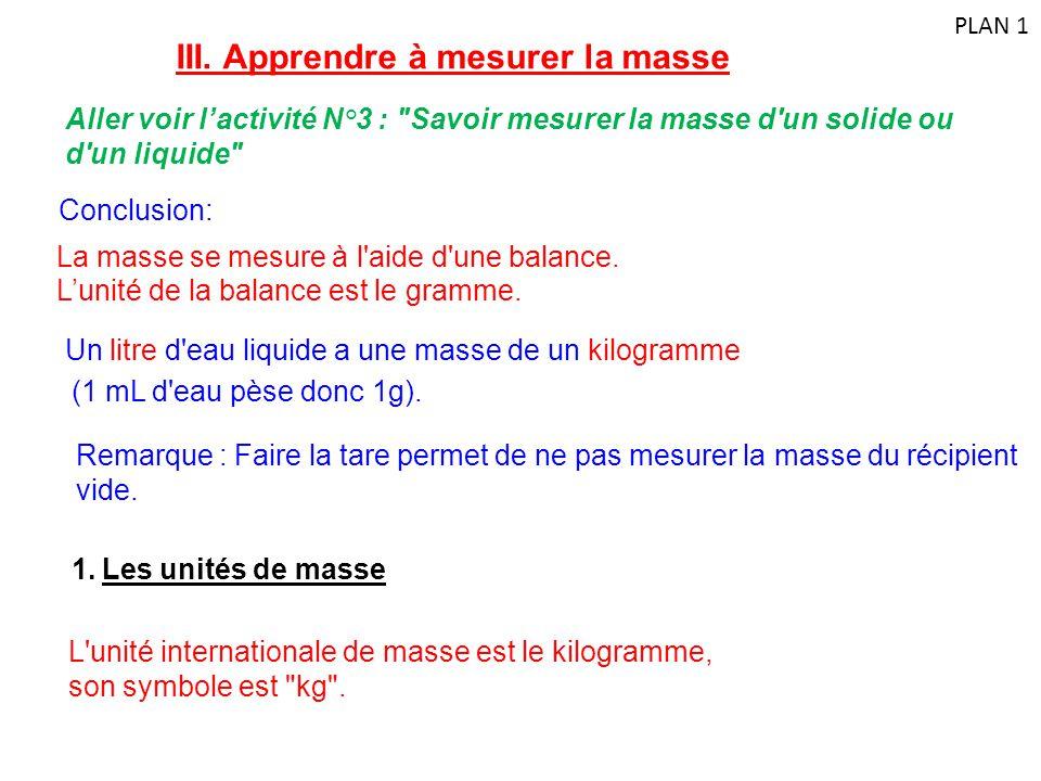 III. Apprendre à mesurer la masse