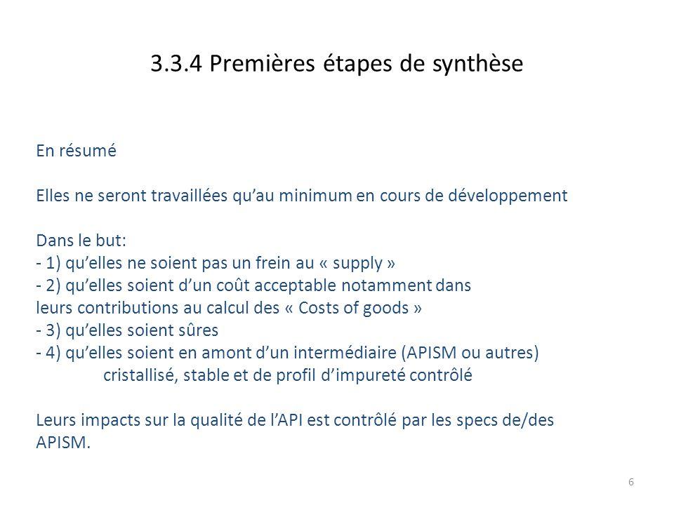 3.3.4 Premières étapes de synthèse