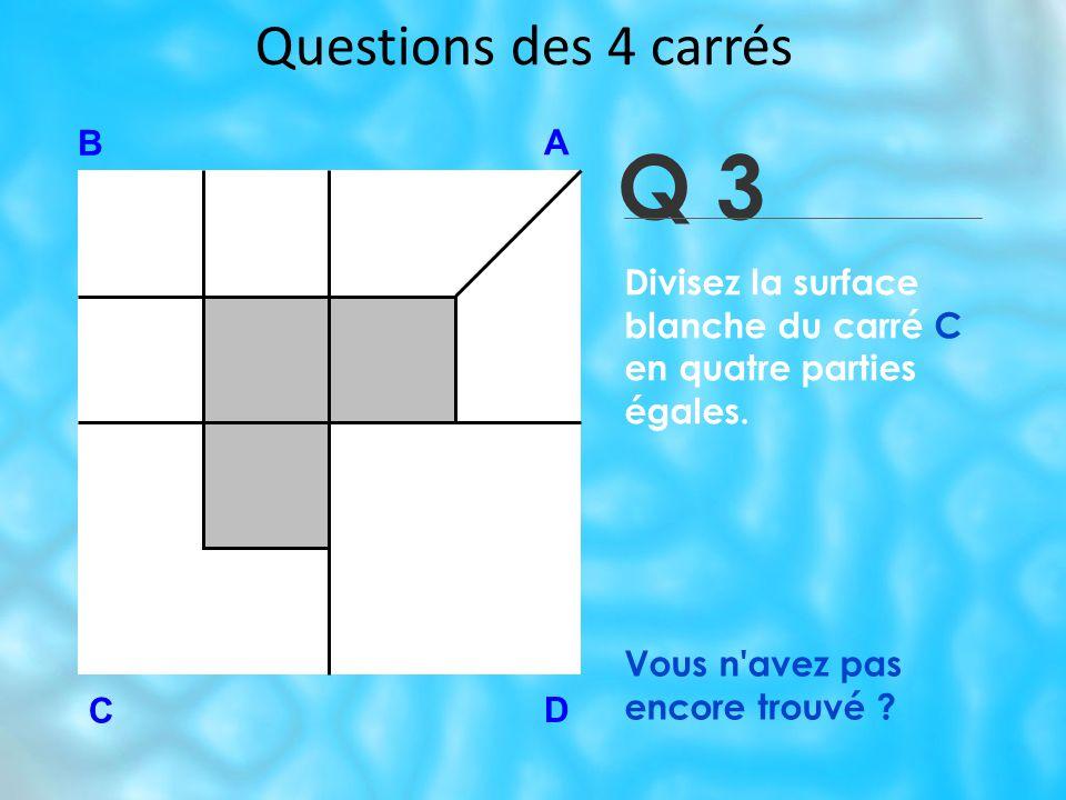 Q 3 Questions des 4 carrés B A