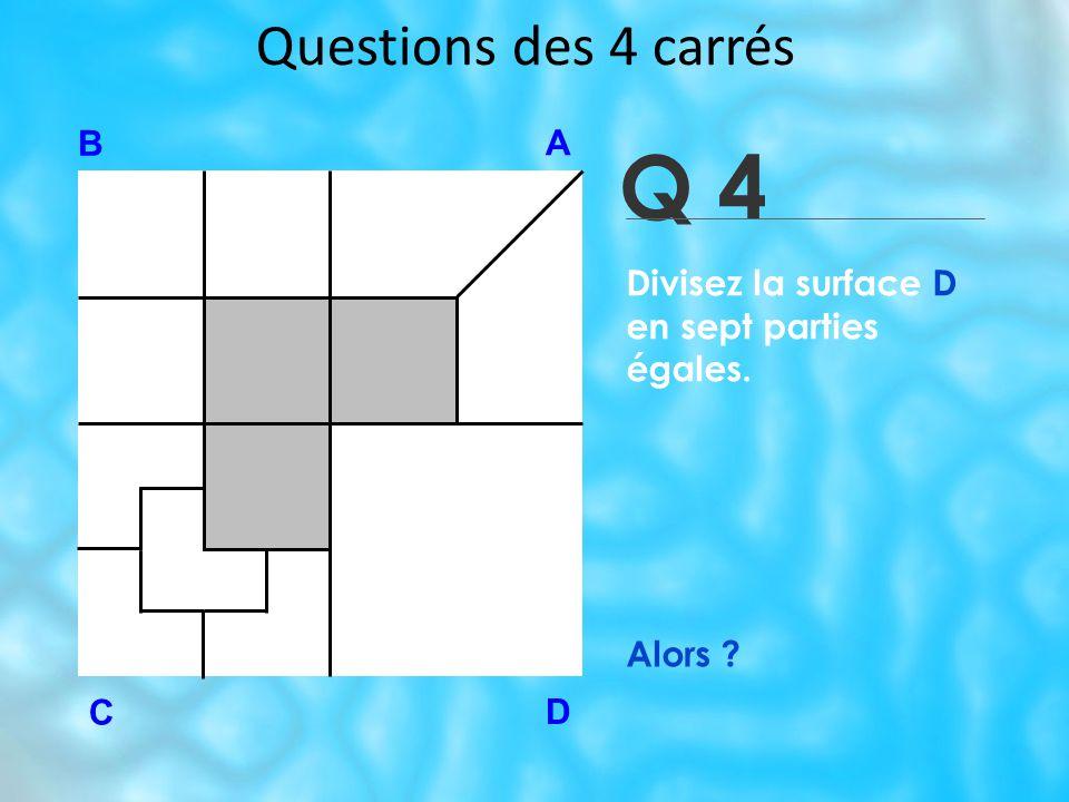 Q 4 Questions des 4 carrés B A