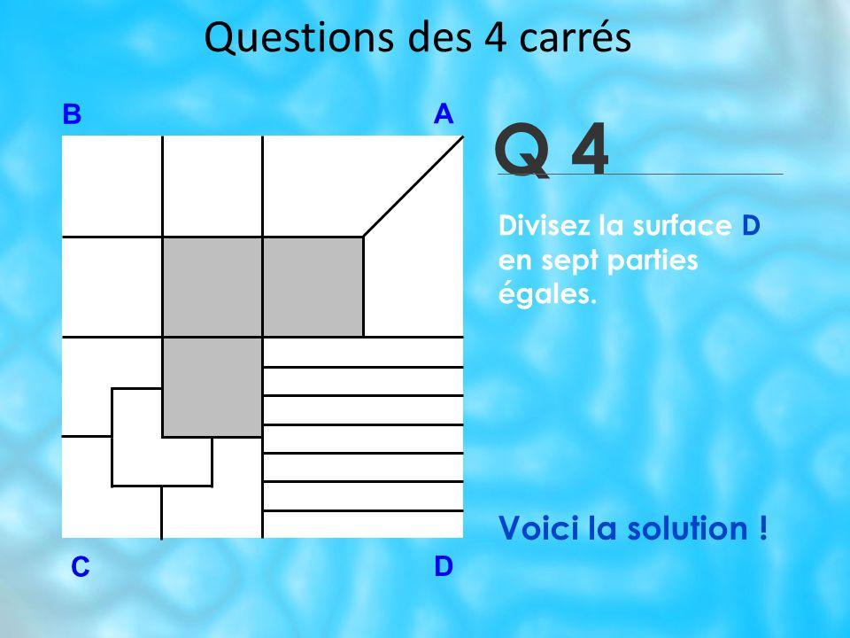 Q 4 Questions des 4 carrés Voici la solution ! B A