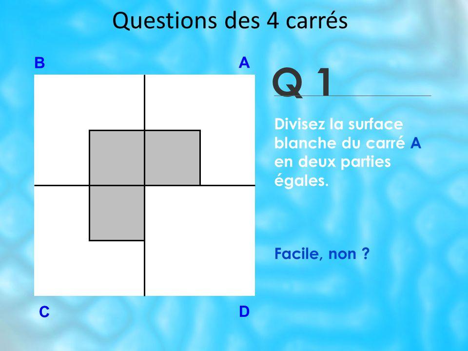 Q 1 Questions des 4 carrés B A