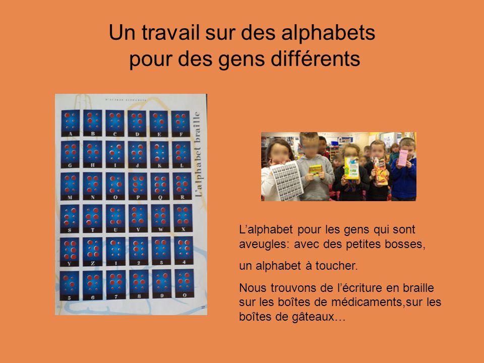 Un travail sur des alphabets pour des gens différents