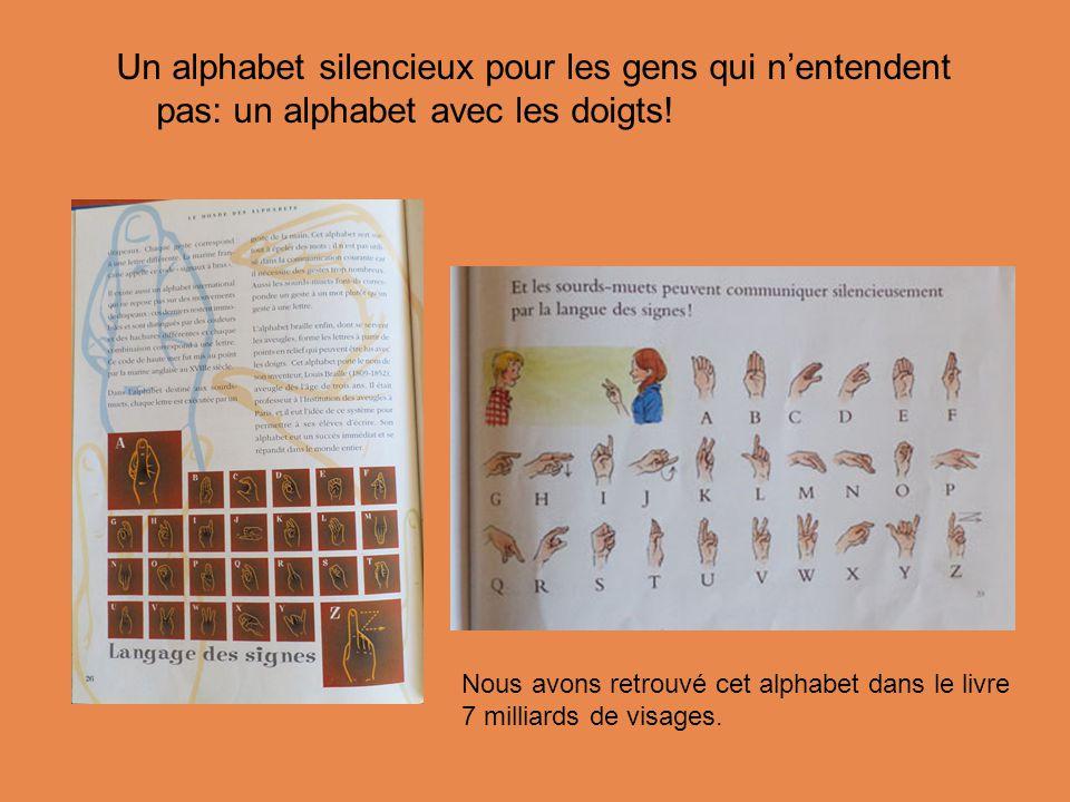Un alphabet silencieux pour les gens qui n'entendent pas: un alphabet avec les doigts!