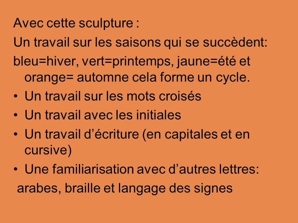 Avec cette sculpture : Un travail sur les saisons qui se succèdent: bleu=hiver, vert=printemps, jaune=été et orange= automne cela forme un cycle.