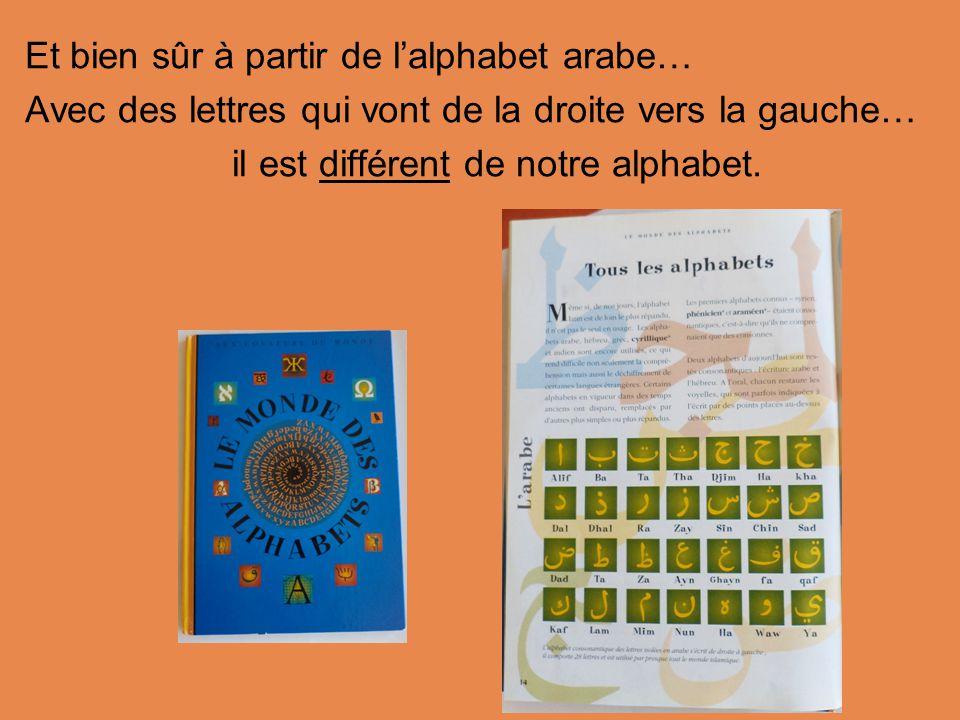 Et bien sûr à partir de l'alphabet arabe…