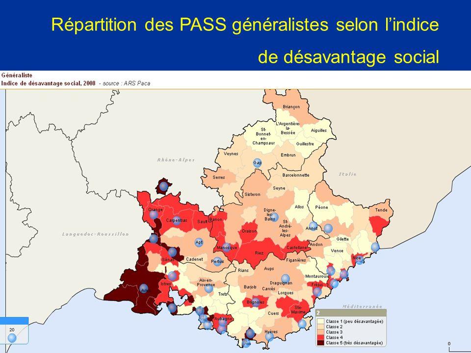Répartition des PASS généralistes selon l'indice de désavantage social
