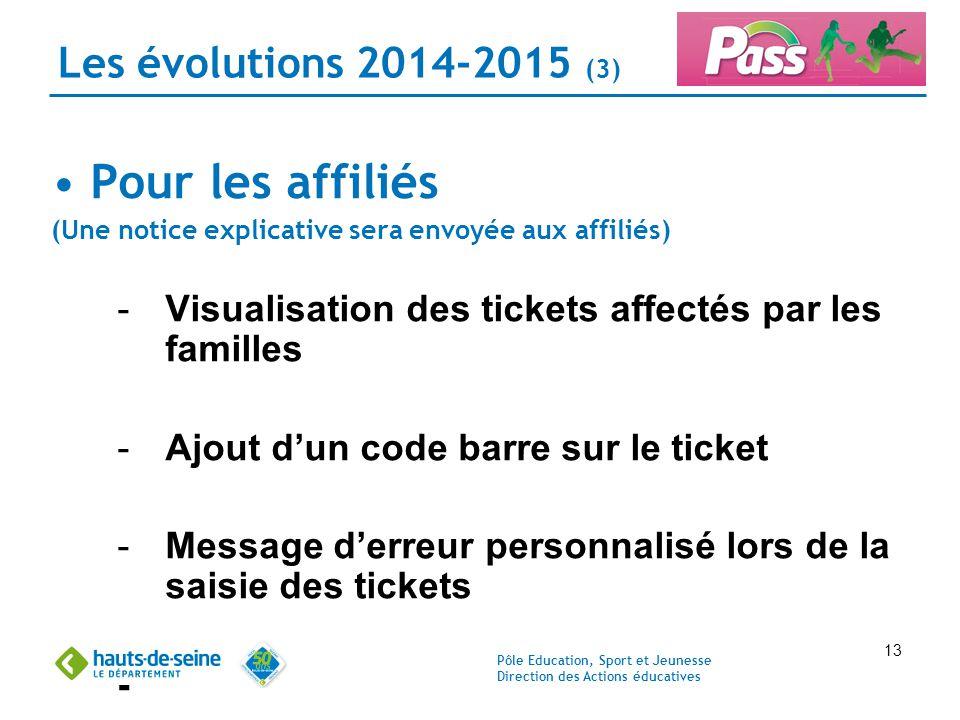 Pour les affiliés Les évolutions 2014-2015 (3)
