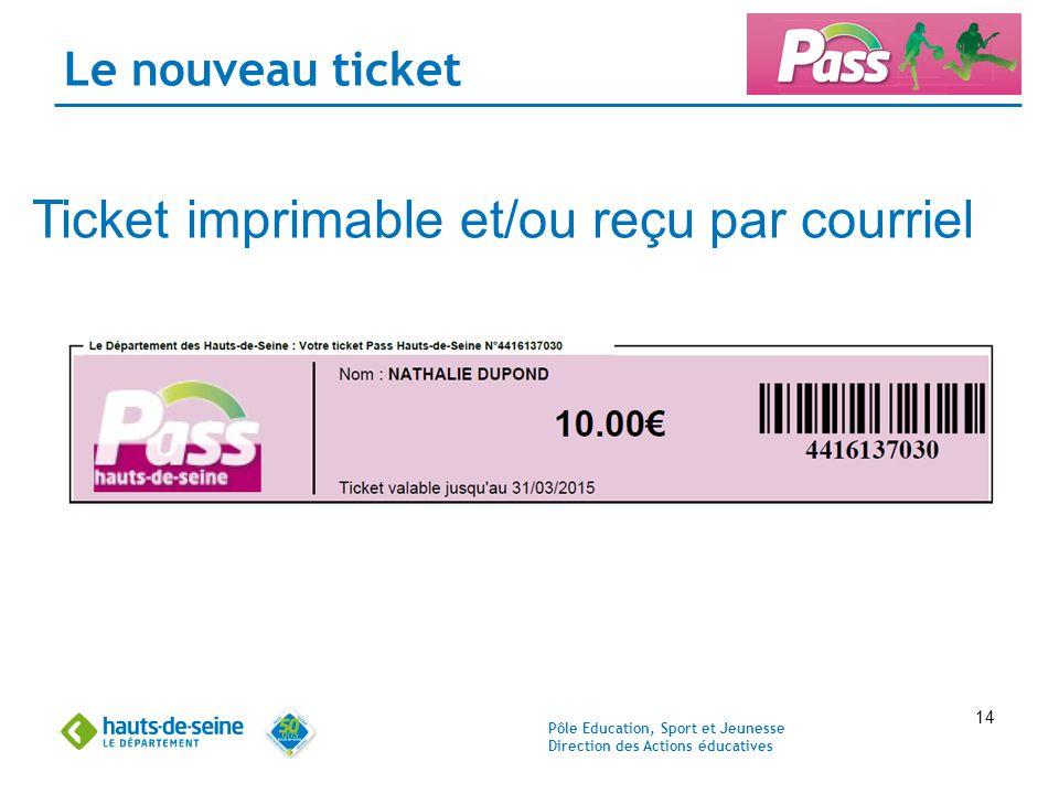 Ticket imprimable et/ou reçu par courriel