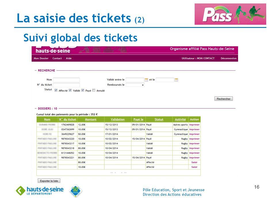 La saisie des tickets (2)