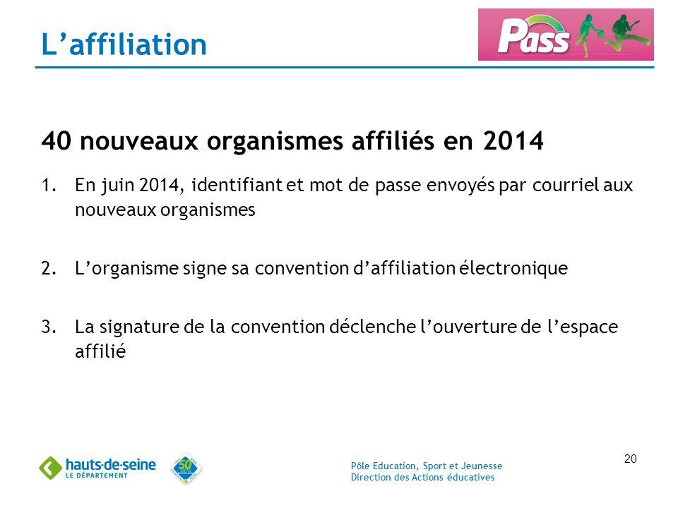 L'affiliation 40 nouveaux organismes affiliés en 2014