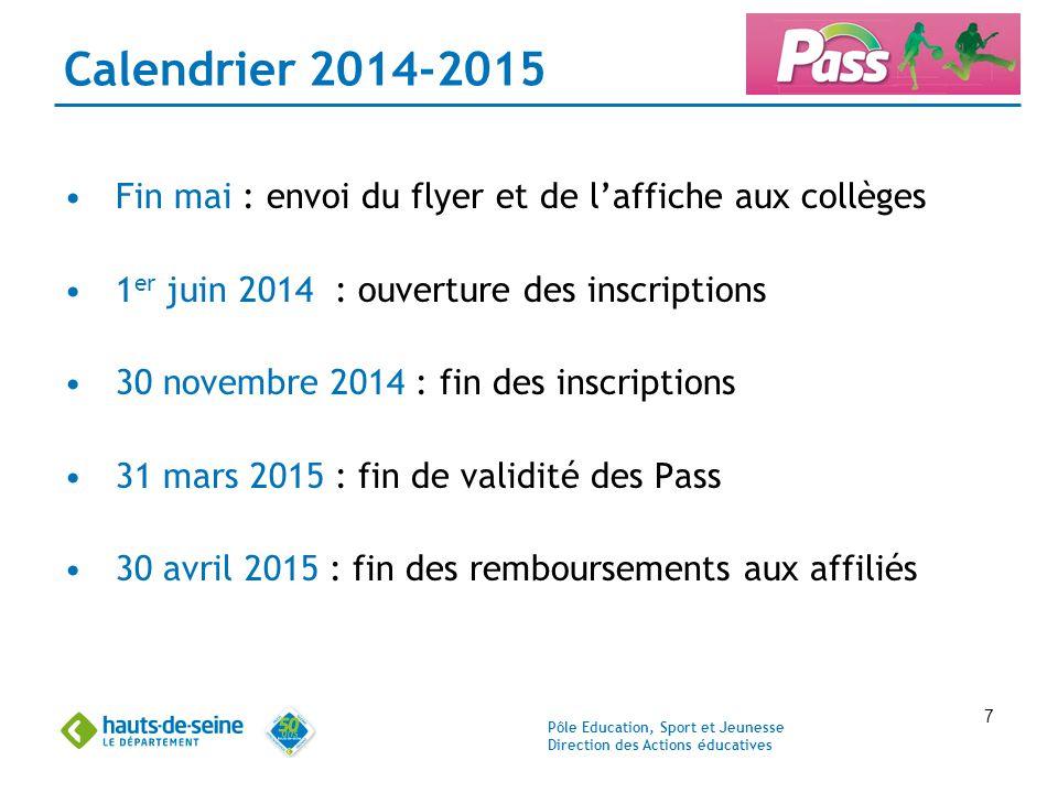Calendrier 2014-2015 Fin mai : envoi du flyer et de l'affiche aux collèges. 1er juin 2014 : ouverture des inscriptions.