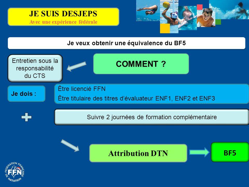 Avec une expérience fédérale Je veux obtenir une équivalence du BF5