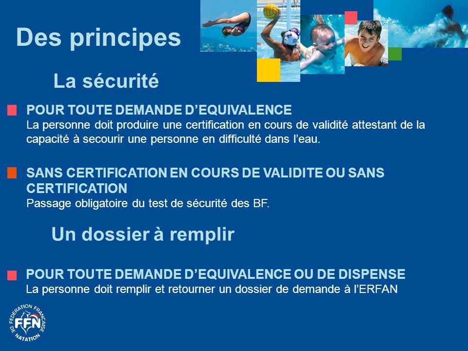 Des principes La sécurité Un dossier à remplir