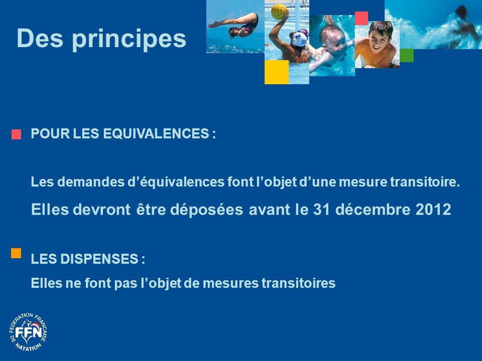 Des principes Elles devront être déposées avant le 31 décembre 2012