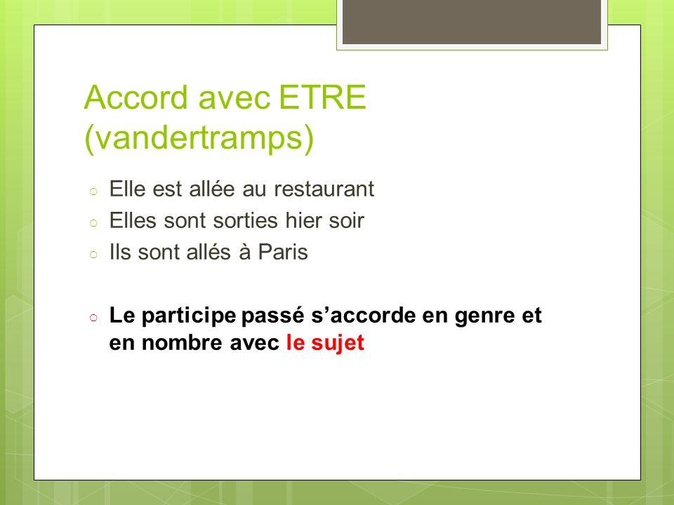 Accord avec ETRE (vandertramps)