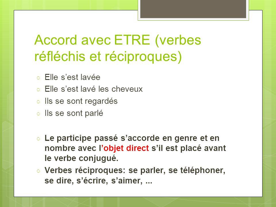 Accord avec ETRE (verbes réfléchis et réciproques)
