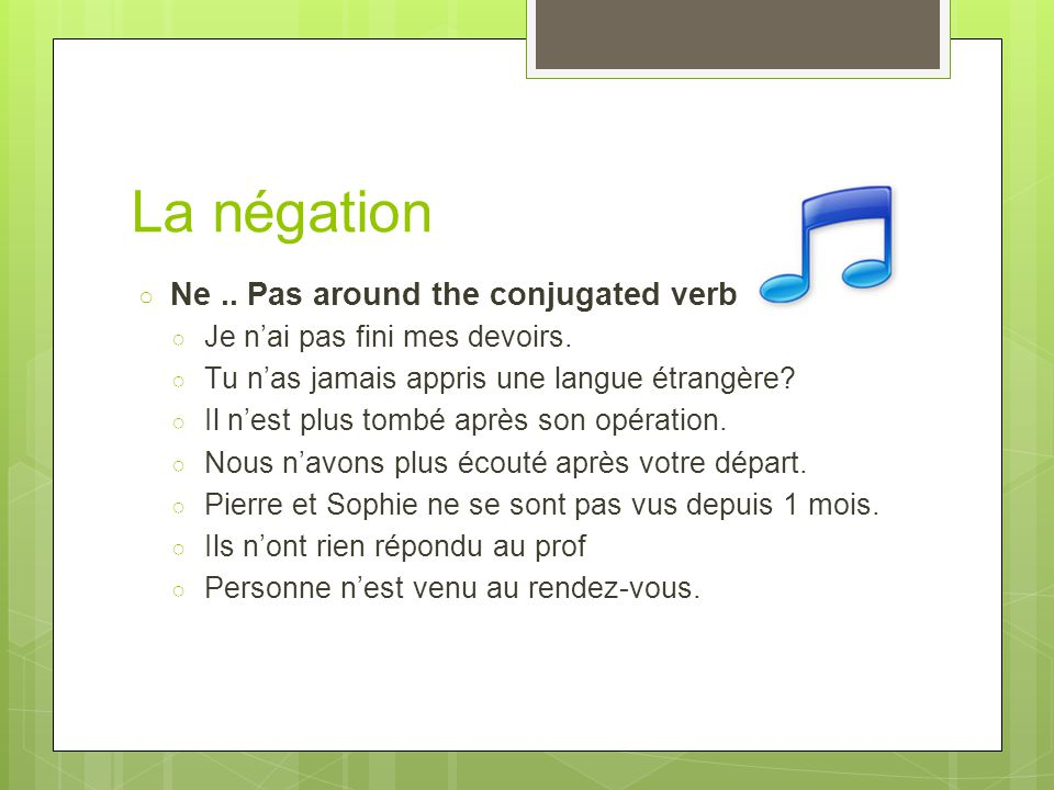 La négation Ne .. Pas around the conjugated verb