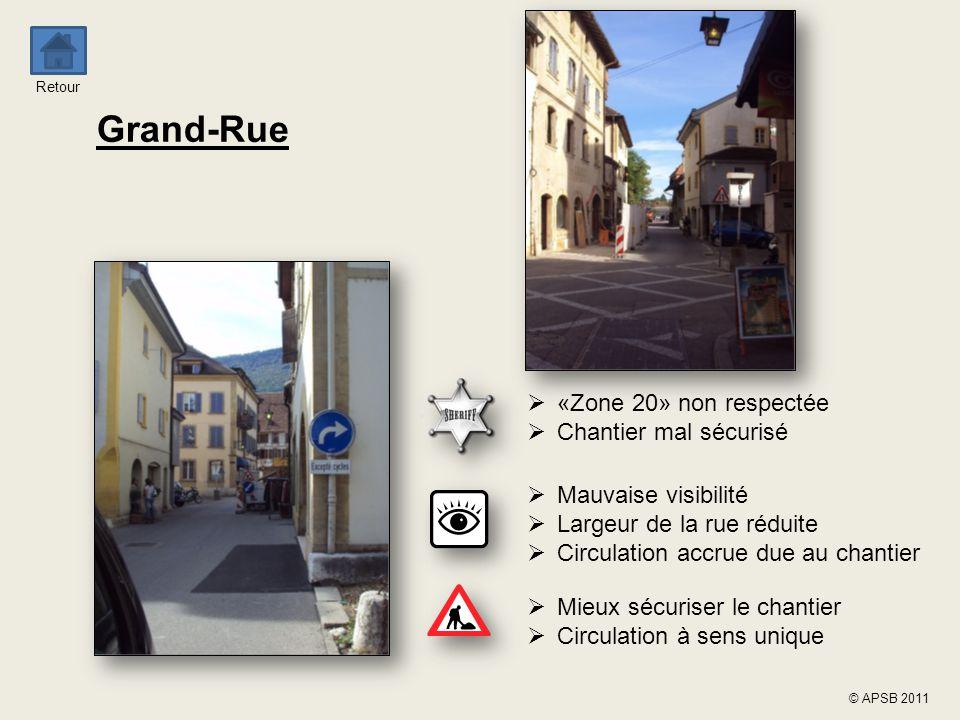 Grand-Rue «Zone 20» non respectée Chantier mal sécurisé