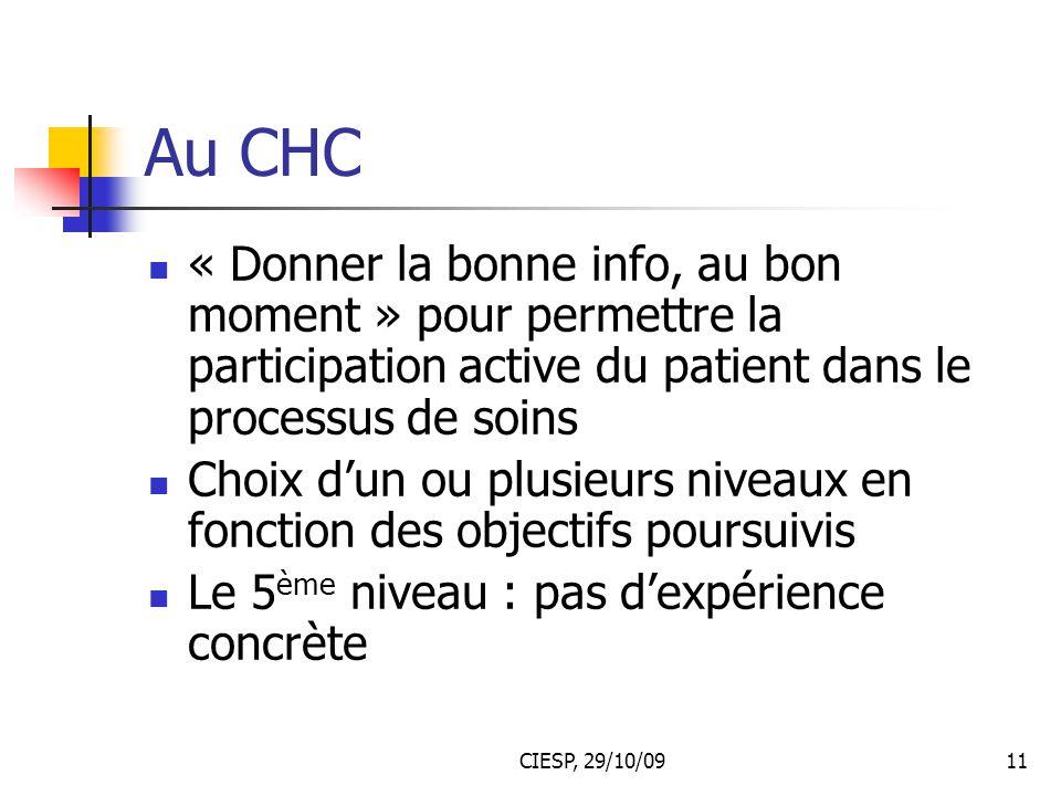 Au CHC « Donner la bonne info, au bon moment » pour permettre la participation active du patient dans le processus de soins.