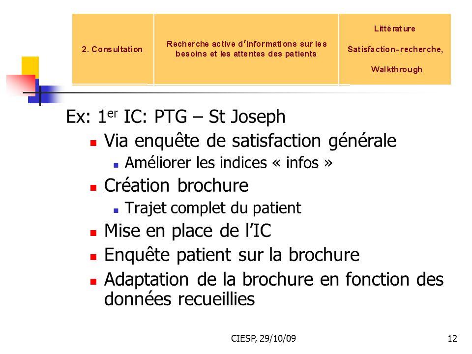 Ex: 1er IC: PTG – St Joseph Via enquête de satisfaction générale