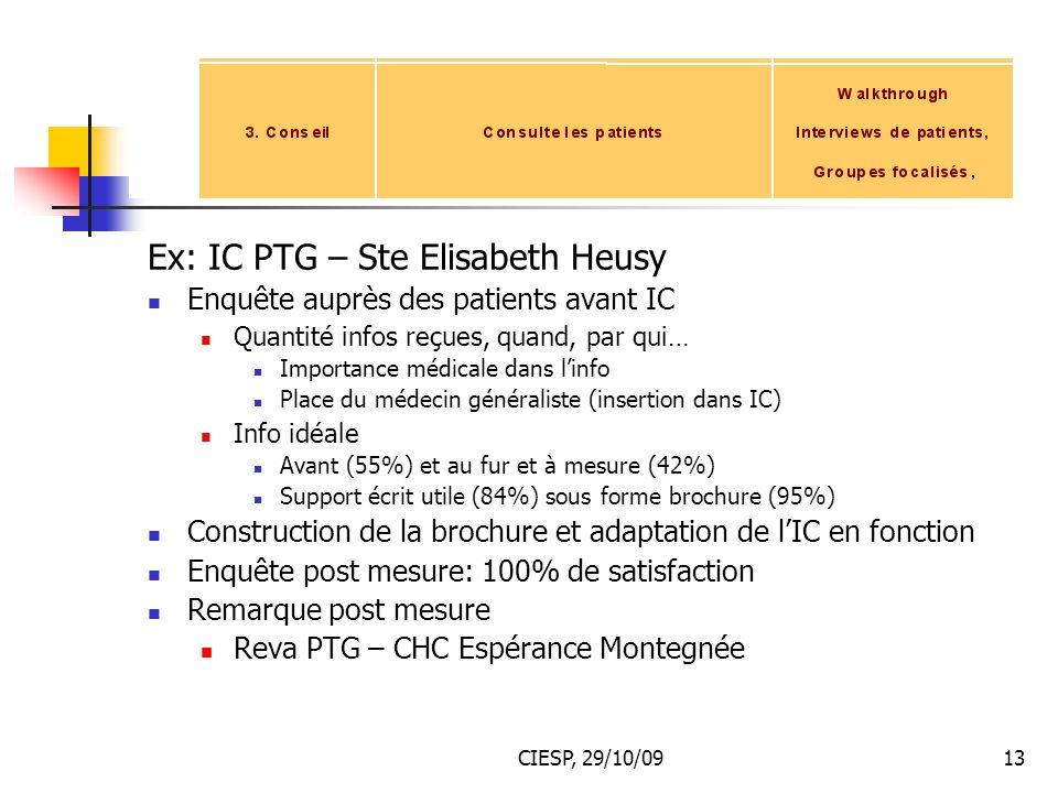 Ex: IC PTG – Ste Elisabeth Heusy
