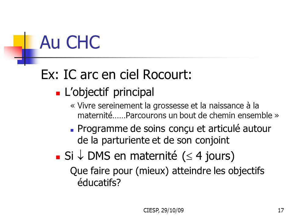 Au CHC Ex: IC arc en ciel Rocourt: L'objectif principal