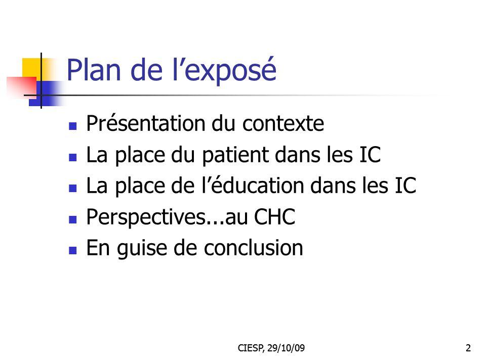 Plan de l'exposé Présentation du contexte