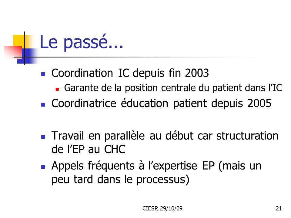 Le passé... Coordination IC depuis fin 2003