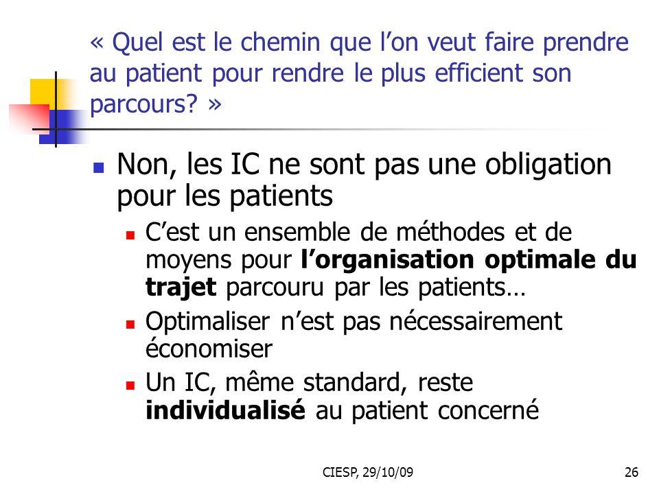 Non, les IC ne sont pas une obligation pour les patients