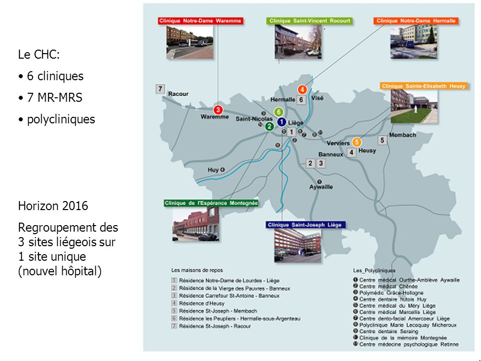 Le CHC: 6 cliniques. 7 MR-MRS. polycliniques. Horizon 2016.