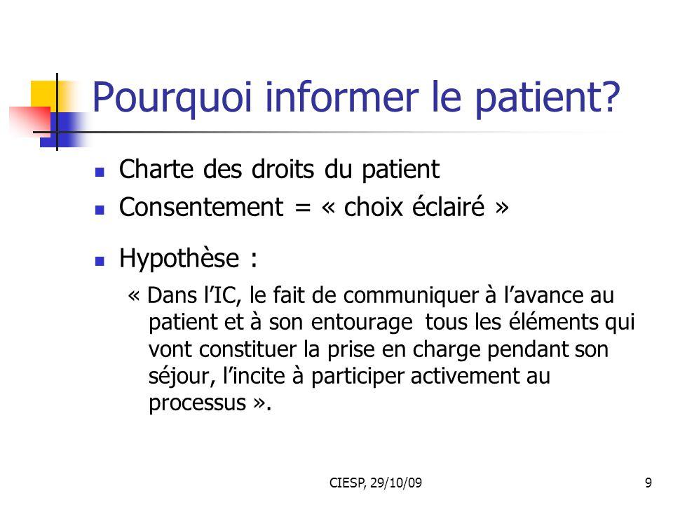 Pourquoi informer le patient
