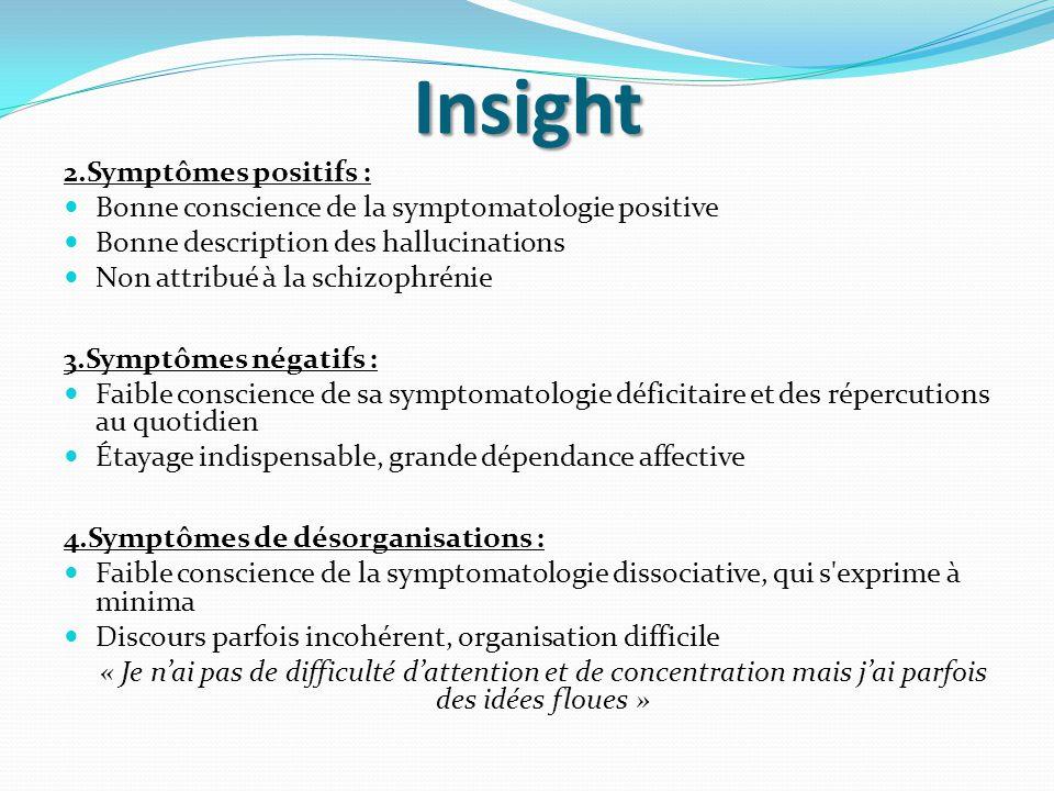 Insight 2.Symptômes positifs :