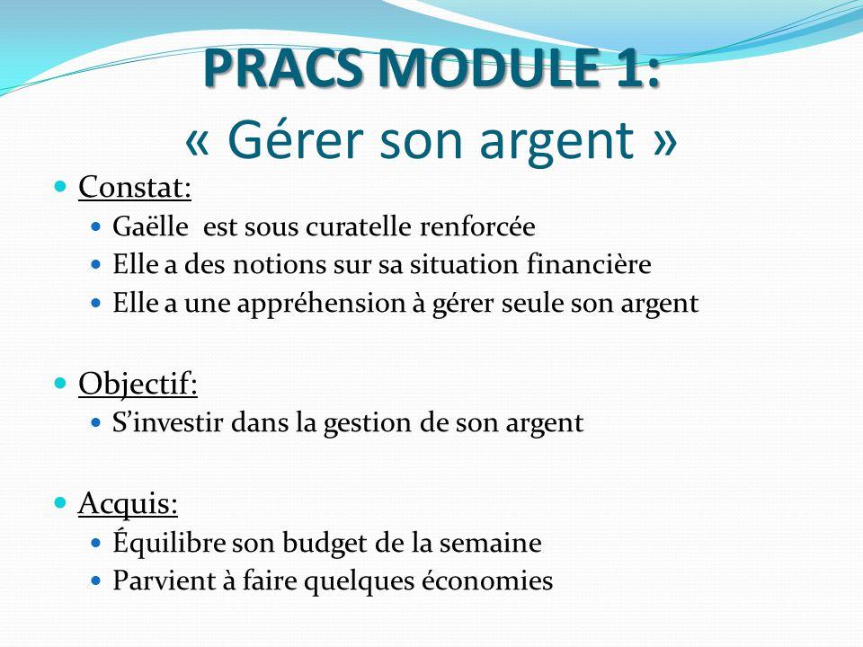 PRACS MODULE 1: « Gérer son argent »