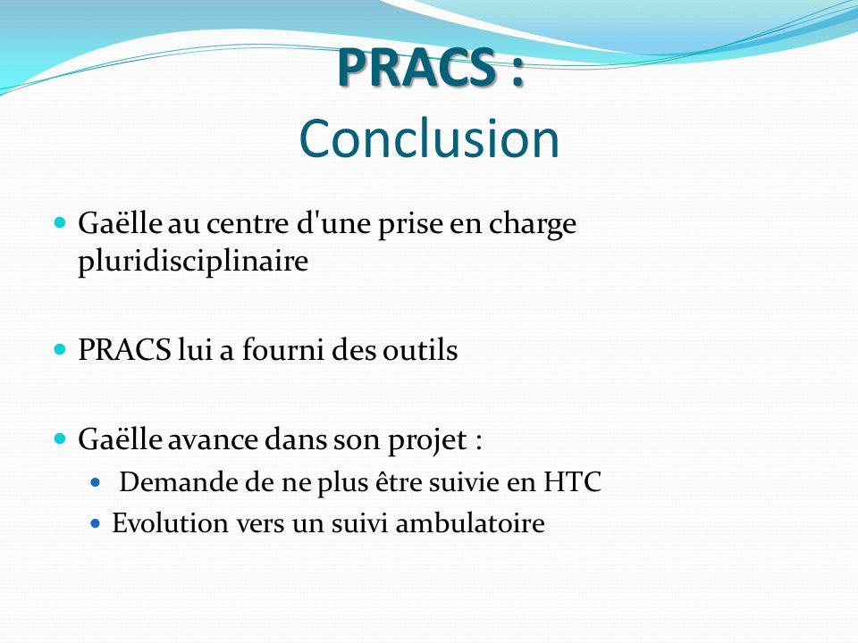 PRACS : Conclusion Gaëlle au centre d une prise en charge pluridisciplinaire. PRACS lui a fourni des outils.